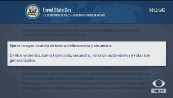 Foto: EU emite alerta de viaje a México, por riesgo de secuestro