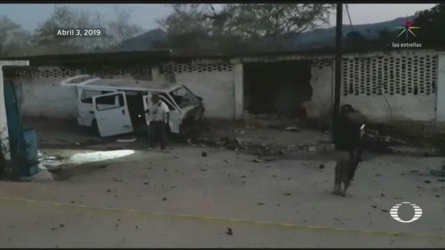 Foto: Explosión Coche Bomba Acapulco Policías Comunitarias 6 Abril 2019