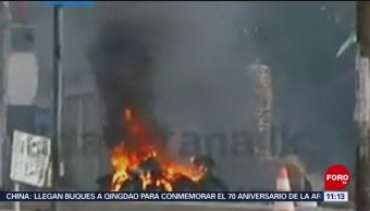 Explota bomba dentro de una camioneta en Sri Lanka