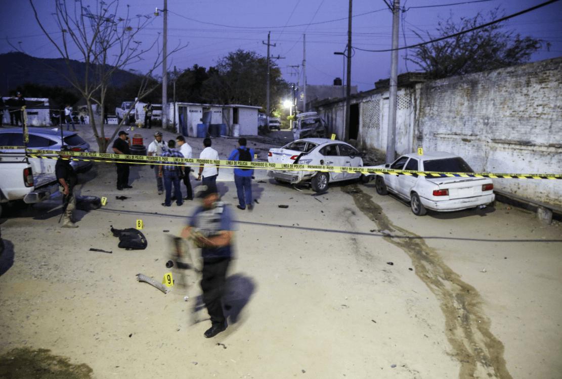 Lugar donde explotó un vehículo en Xaltianguis, Guerrero, 3 de abril de 2019, México