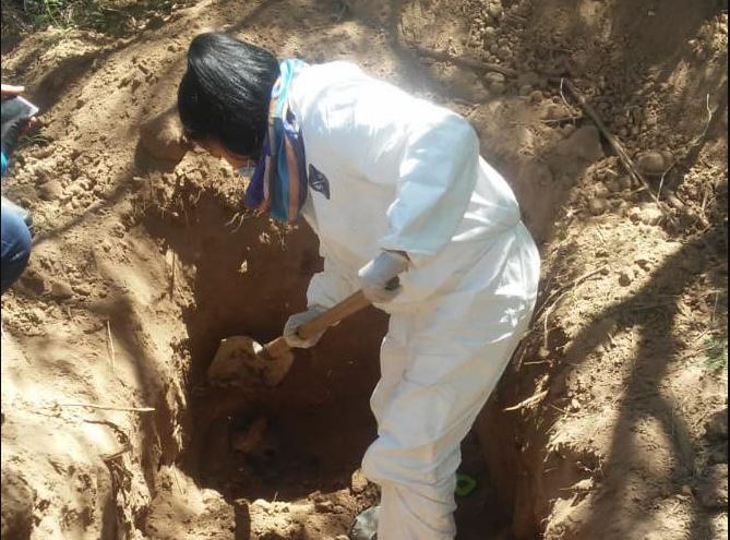 Foto: El hallazgo, que en un inicio era de 25 cuerpos, tuvo lugar este sábado tras una expedición liderada por el colectivo Guerreras Buscadoras de Sonora, el 14 de abril de 2019 (Twitter @MeganoticiasCOB)