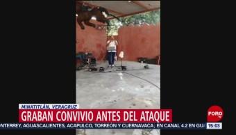 FOTO: Graban convivio antes de ataque en Minatitlán, Veracruz, 20 ABRIL 2019
