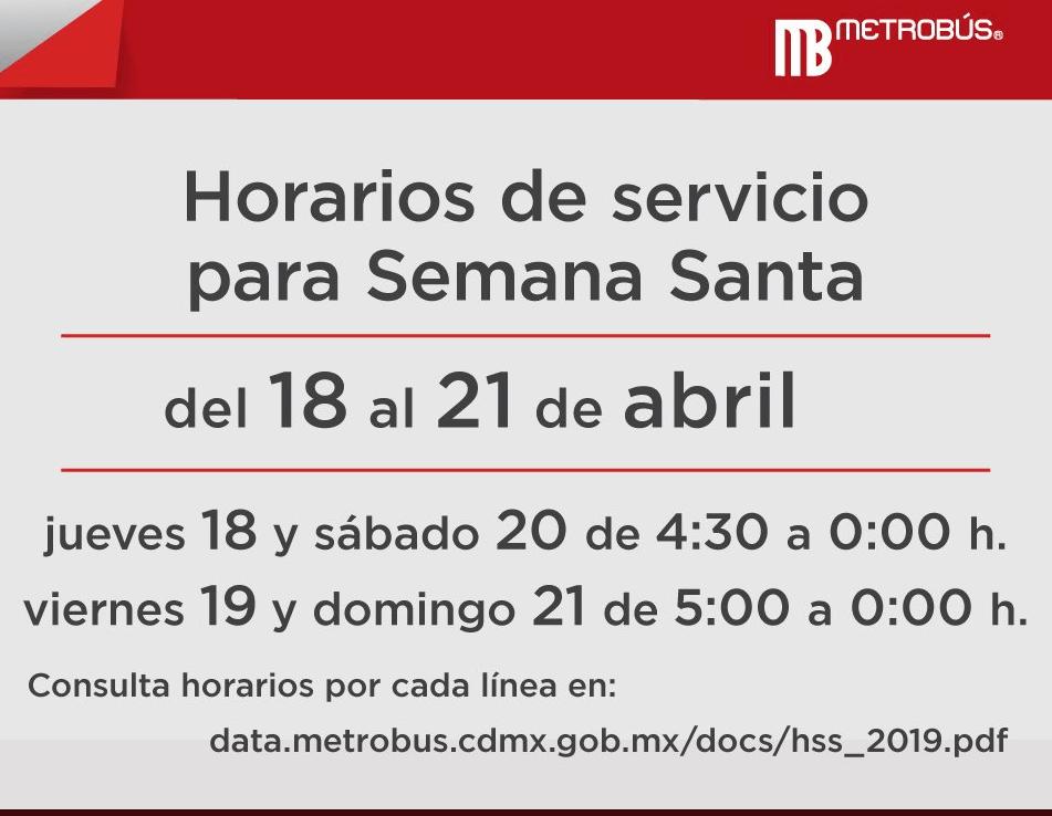 Foto: Metrobús emite anuncio por horarios de Semana Santa, abril de 2019, México