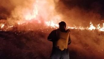 Fuerte incendio consume pastizales en Tuxtla Gutiérrez, Chiapas
