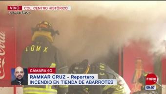 Incendio en tienda de abarrotes en el Centro Histórico