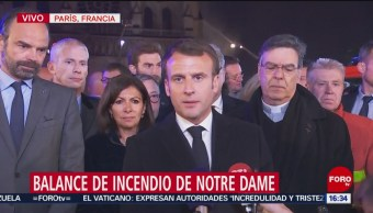 Foto: Macron realiza balance de incendio en catedral de Notre Dame