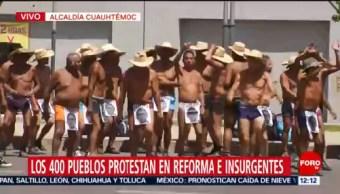 Manifestantes en calzones se manifiestan en Reforma e Insurgentes, CDMX