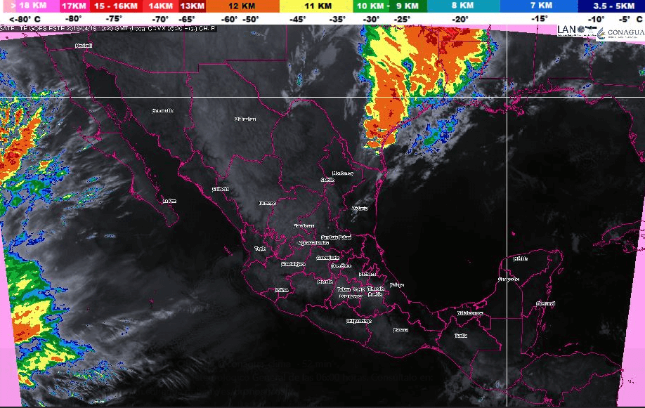 Foto: Mapa satelital de la República Mexicana, 18 de abril de 2019, México