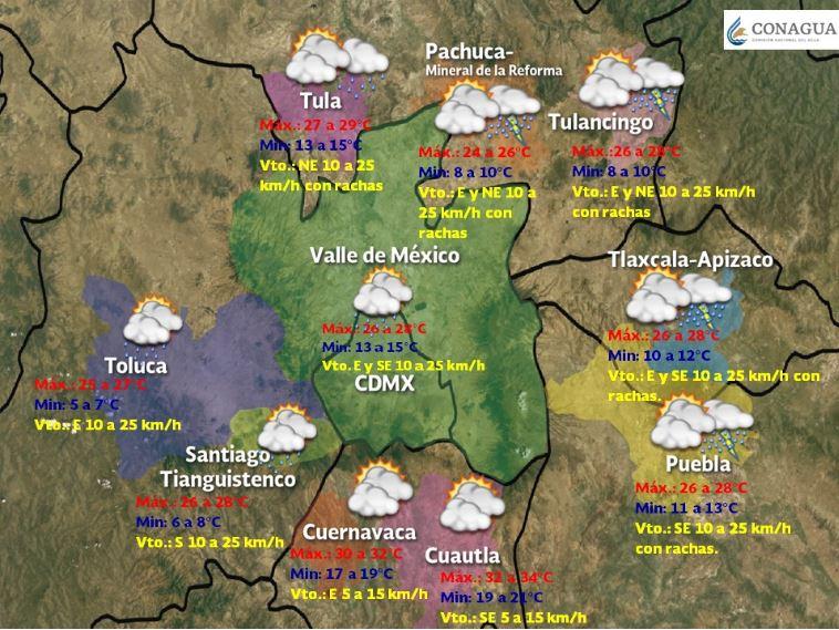 Foto:Se pronostican condiciones de cielo nublado por la tarde, con posibilidad de lluvias aisladas en el Valle de México, 28 abril 2019
