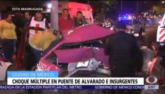 Menor queda atrapado tras choque múltiple en avenida Insurgentes, CDMX
