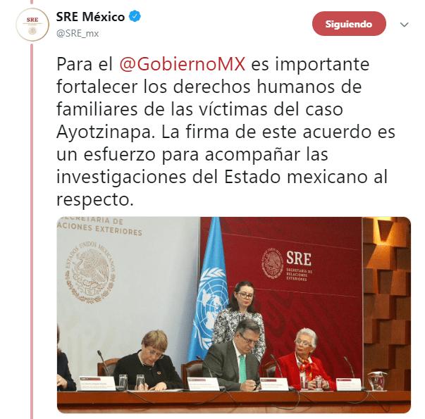 FOTO México y la ONU firman acuerdo para apoyar Comisión del caso Ayotzinapa (@SRE_mx 8 abril 2019 cdmx)