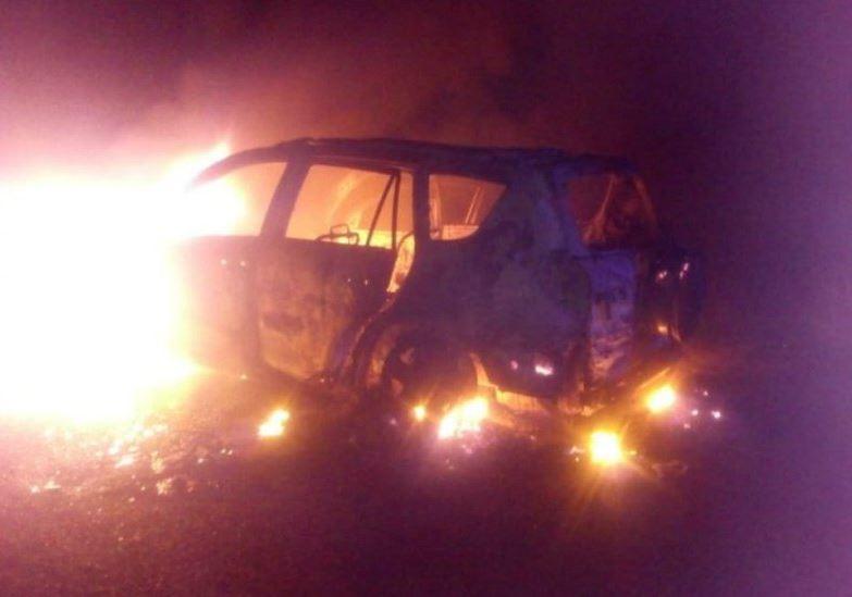 Foto: Autoridades encuentran calcinados los vehículos utilizados en el ataque armado en Minatitlán, Veracruz, 20 abril 2019