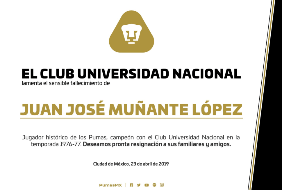 IMAGEN Muere Juan José 'La Cobra' Muñante, jugador histórico de Pumas (Twitter PUMAS)