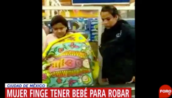 Foto Mujer Finge Bebé Robar Supermercado 20 Abril 2019
