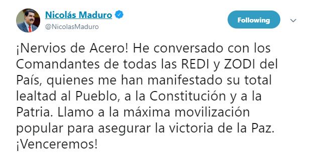 """IMAGEN Nicolás Maduro dice que tiene """"total lealtad"""" de militares (Twitter 30 abril 2019)"""