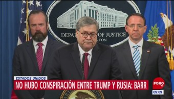FOTO: No hubo colusión entre Rusia y Trump, dice fiscal Barr, 18 abril 2019
