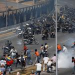 Foto: Opositores venezolanos se enfrentan a miembros de la Guardia Nacional Bolivariana, 30 de abril de 2019, Caracas