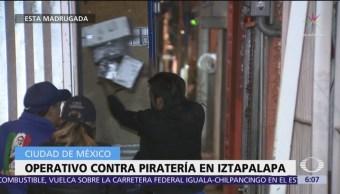 Realizan operativo contra piratería en Iztapalapa