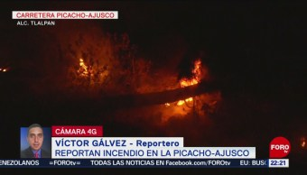 FOTO: Reportan incendio en carretera Picacho-Ajusco, 13 abril 2019
