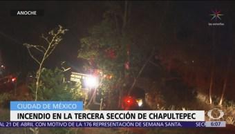 Se registra incendio en la tercera sección de Chapultepec