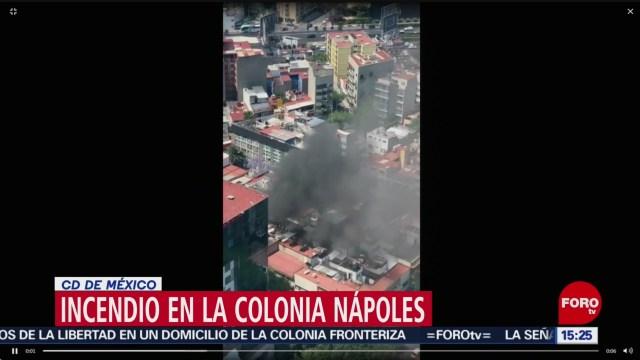 Foto: Se reporta incendio en la colonia Nápoles, CDMX