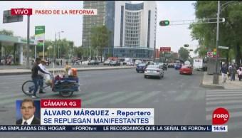 Se retiran manifestantes de Insurgentes y Reforma