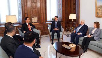Foto: El presidente sirio, Bashar Al Assad (3d), recibió en Damasco al ministro de Exteriores venezolano, Jorge Arreaza (4d), 4 abril 2019