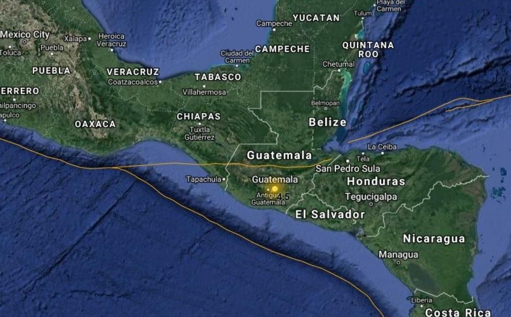 Sismo de 4.5 grados Richter estremece suroeste de Guatemala