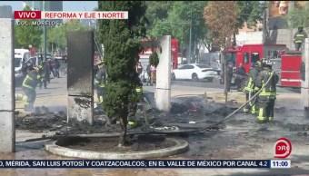 FOTO: Sofocan incendio en campamento irregular en Colonia Morelos, CDMX, 13 de abril 2019