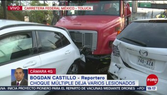 FOTO: Tráiler sin freno impacta ocho vehículos en la México-Toluca, 24 ABRIL 2019