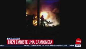 FOTO: Tren embiste una camioneta en Nuevo León, 27 ABRIL 2019