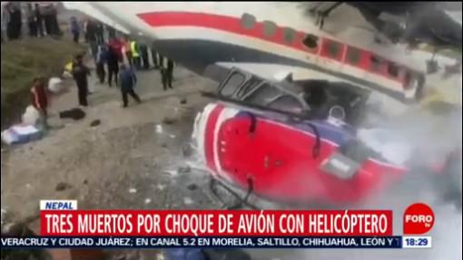 FOTO: Tres muertos por choque de avión con helicóptero en Nepal, 14 de abril 2019