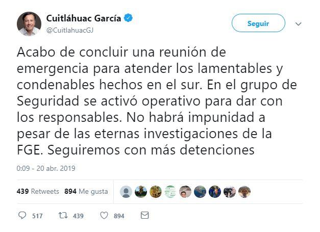 Asegura gobernador que no habrá impunidad tras ataque en Minatitlán