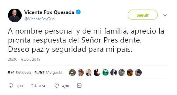 Fox agradece a López Obrador por brindarle seguridad