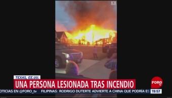 FOTO: Una persona lesionada deja incendio en vivienda de Texas, 7 de abril 2019