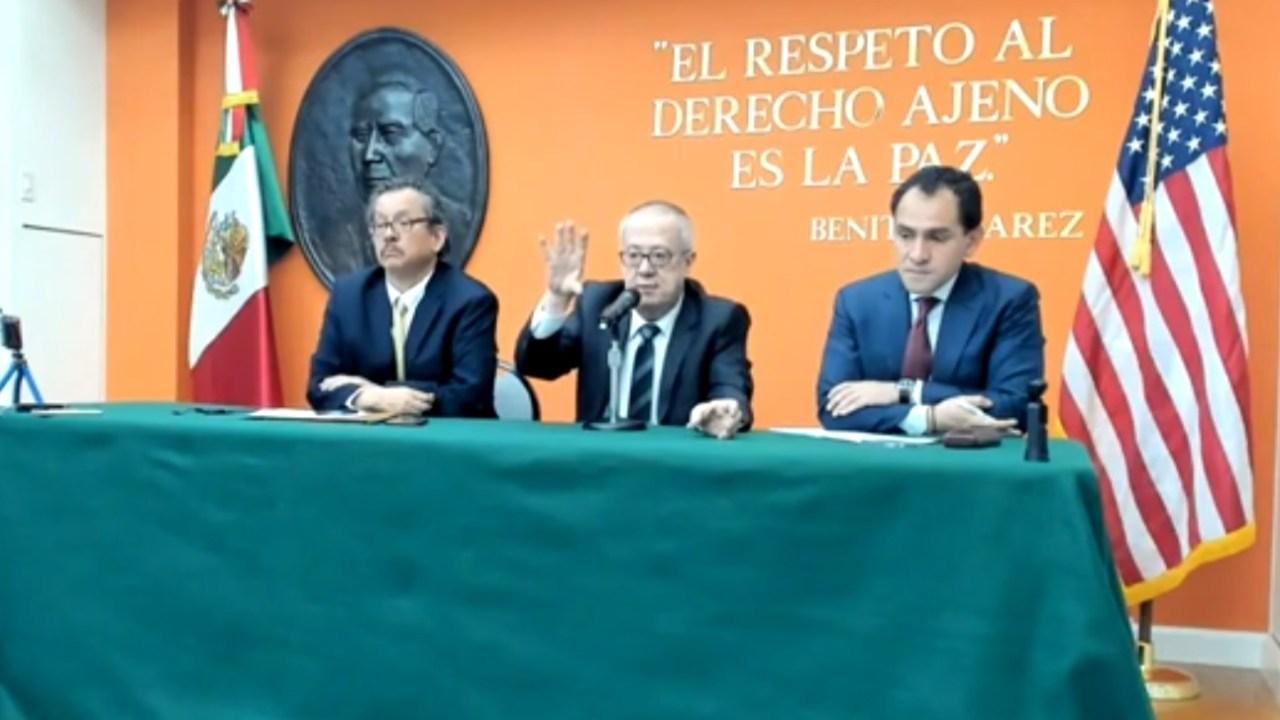Foto: El secretario de Hacienda Carlos Urzua dice que no espera que la petrolera estatal Pemex pierda grado de inversión por parte de agencias calificadoras, abril 13 de 2019 (Twitter: @EmbamexEUA)