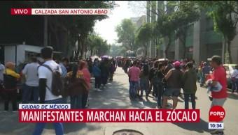 Vagoneros marchan hacia el Zócalo capitalino