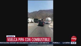 FOTO: Vuelca pipa con combustible en Oaxaca, 27 ABRIL 2019