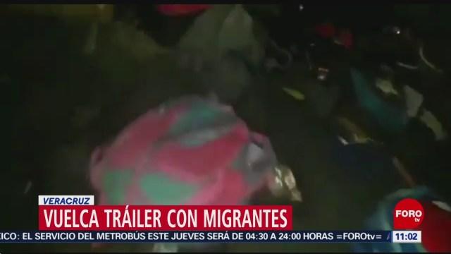 FOTO: Vuelca tráiler con migrantes en Veracruz, 18 ABRIL 2019