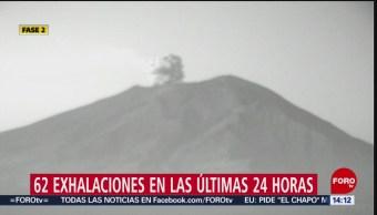 FOTO: 62 exhalaciones en las últimas 24 horas en el Popocatépetl, 12 MAYO 2019