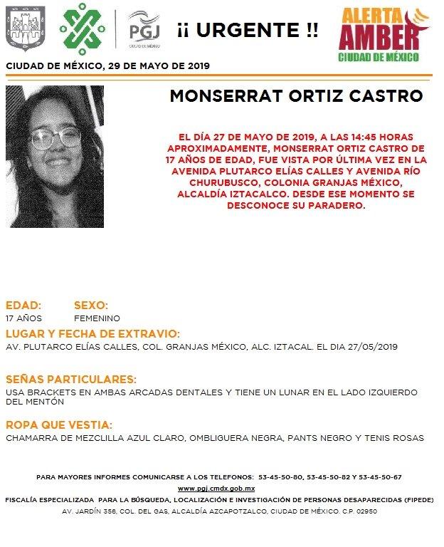 Foto Alerta Amber para localizar a Monserrat Ortíz Castro 29 mayo 2019