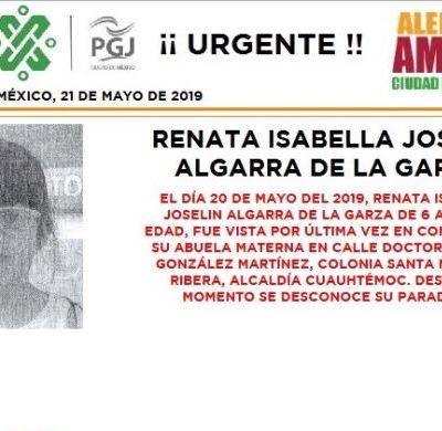 Alerta Amber: Ayuda a localizar a Renata Isabella Joselin Algarra de la Garza