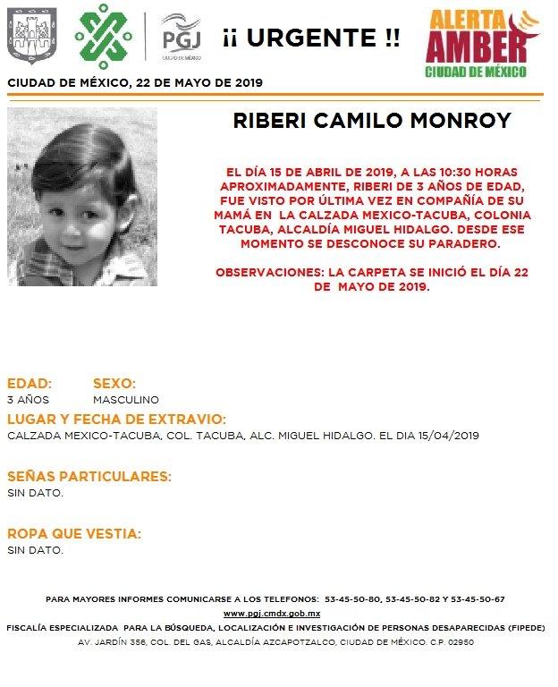 Foto Alerta Amber para localizar a Riberi Camilo Monroy 23 mayo 2019