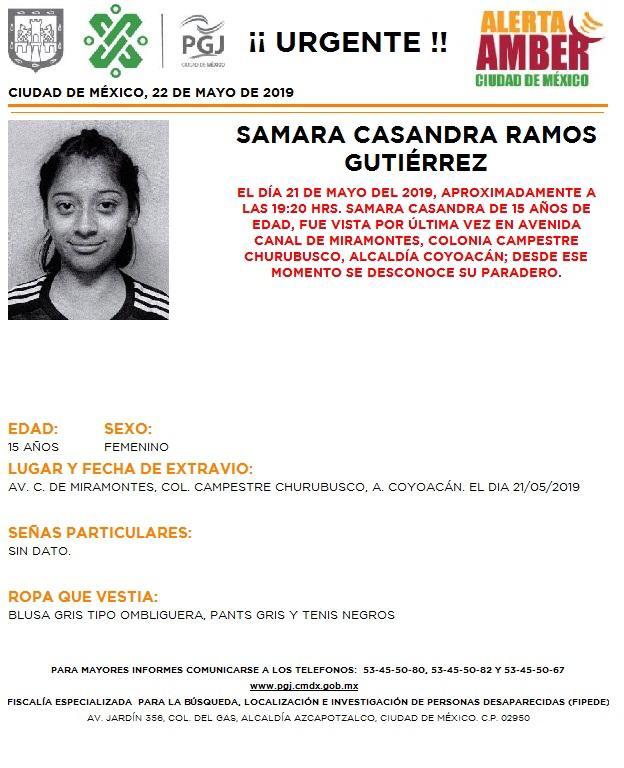 Foto Alerta Amber para localizar a Samara Casandra Ramos Gutiérrez 22 mayo 20196