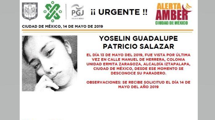 Foto Alerta Amber para localizar a Yoselin Guadalupe Patricio Salazar 15 mayo 2019
