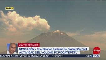 Foto: Alerta del Popo baja de intensidad; baja a amarillo fase 2