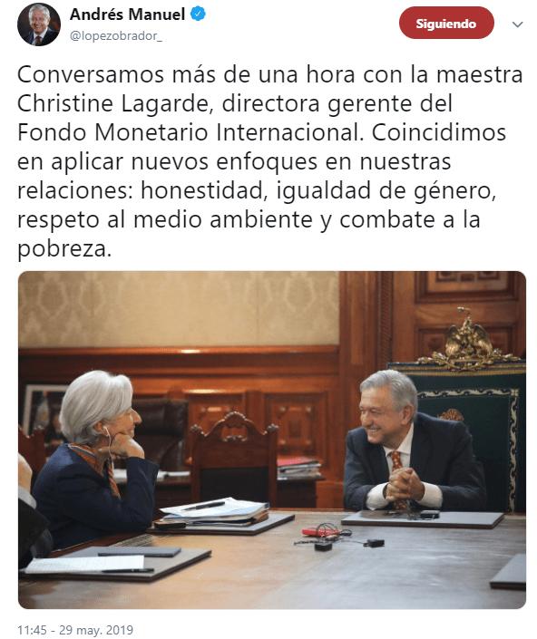 IMAGEN AMLO se reúne con directora del Fondo Monetario Internacional en Palacio Nacional (Twitter @lopezobrador_ 29 mayo 2019 cdmx)