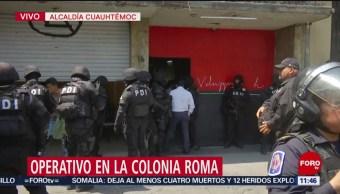 Aseguran inmueble tras operativo en la colonia Roma, CDMX