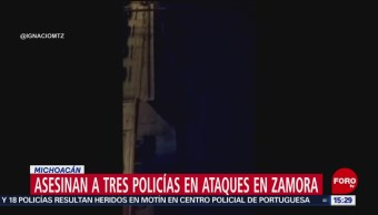 FOTO: Asesinan a tres policías en ataques en Zamora, Michoacán, 26 MAYO 2019