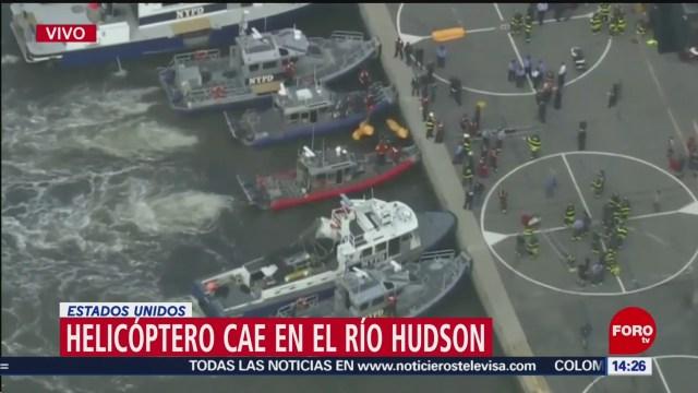 Cae helicóptero en el Río Hudson